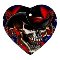 Confederate Flag Usa America United States Csa Civil War Rebel Dixie Military Poster Skull Ornament (heart)