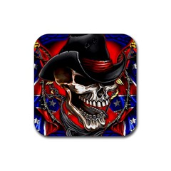 Confederate Flag Usa America United States Csa Civil War Rebel Dixie Military Poster Skull Rubber Coaster (square)  by BangZart