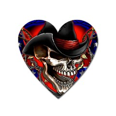 Confederate Flag Usa America United States Csa Civil War Rebel Dixie Military Poster Skull Heart Magnet by BangZart
