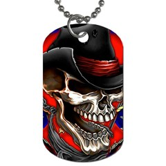 Confederate Flag Usa America United States Csa Civil War Rebel Dixie Military Poster Skull Dog Tag (one Side)