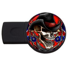 Confederate Flag Usa America United States Csa Civil War Rebel Dixie Military Poster Skull Usb Flash Drive Round (2 Gb)