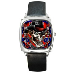 Confederate Flag Usa America United States Csa Civil War Rebel Dixie Military Poster Skull Square Metal Watch by BangZart