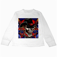 Confederate Flag Usa America United States Csa Civil War Rebel Dixie Military Poster Skull Kids Long Sleeve T Shirts by BangZart
