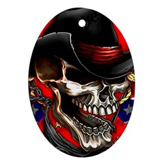 Confederate Flag Usa America United States Csa Civil War Rebel Dixie Military Poster Skull Oval Ornament (two Sides)