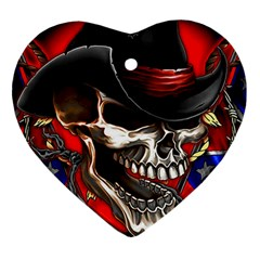 Confederate Flag Usa America United States Csa Civil War Rebel Dixie Military Poster Skull Heart Ornament (two Sides) by BangZart