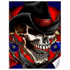 Confederate Flag Usa America United States Csa Civil War Rebel Dixie Military Poster Skull Canvas 18  X 24   by BangZart