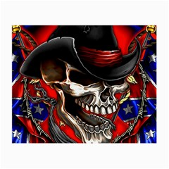 Confederate Flag Usa America United States Csa Civil War Rebel Dixie Military Poster Skull Small Glasses Cloth (2 Side)