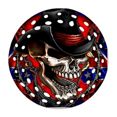 Confederate Flag Usa America United States Csa Civil War Rebel Dixie Military Poster Skull Round Filigree Ornament (two Sides) by BangZart