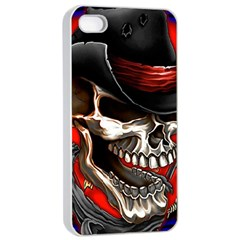 Confederate Flag Usa America United States Csa Civil War Rebel Dixie Military Poster Skull Apple Iphone 4/4s Seamless Case (white) by BangZart