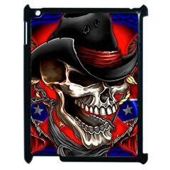 Confederate Flag Usa America United States Csa Civil War Rebel Dixie Military Poster Skull Apple Ipad 2 Case (black)