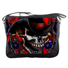 Confederate Flag Usa America United States Csa Civil War Rebel Dixie Military Poster Skull Messenger Bags