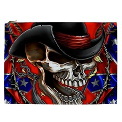Confederate Flag Usa America United States Csa Civil War Rebel Dixie Military Poster Skull Cosmetic Bag (xxl)