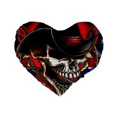 Confederate Flag Usa America United States Csa Civil War Rebel Dixie Military Poster Skull Standard 16  Premium Heart Shape Cushions by BangZart