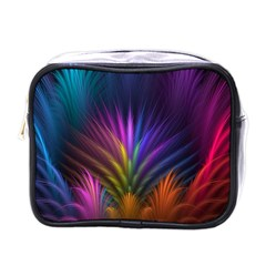 Colored Rays Symmetry Feather Art Mini Toiletries Bags