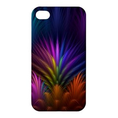 Colored Rays Symmetry Feather Art Apple Iphone 4/4s Hardshell Case