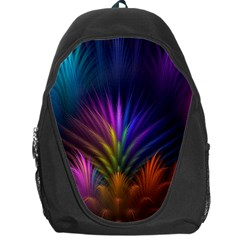 Colored Rays Symmetry Feather Art Backpack Bag by BangZart