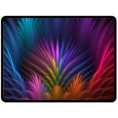 Colored Rays Symmetry Feather Art Double Sided Fleece Blanket (large)  by BangZart