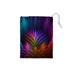 Colored Rays Symmetry Feather Art Drawstring Pouches (small)