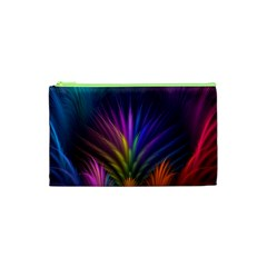 Colored Rays Symmetry Feather Art Cosmetic Bag (xs)
