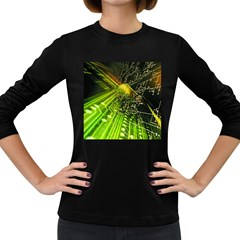 Electronics Machine Technology Circuit Electronic Computer Technics Detail Psychedelic Abstract Patt Women s Long Sleeve Dark T Shirts
