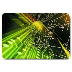 Electronics Machine Technology Circuit Electronic Computer Technics Detail Psychedelic Abstract Patt Large Doormat  by BangZart
