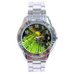 Electronics Machine Technology Circuit Electronic Computer Technics Detail Psychedelic Abstract Patt Stainless Steel Analogue Watch