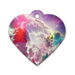 Clouds Multicolor Fantasy Art Skies Dog Tag Heart (one Side)