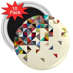 Retro Pattern Of Geometric Shapes 3  Magnets (10 Pack)  by BangZart