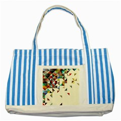 Retro Pattern Of Geometric Shapes Striped Blue Tote Bag