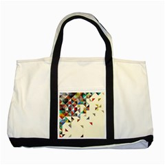 Retro Pattern Of Geometric Shapes Two Tone Tote Bag