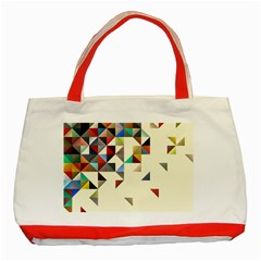 Retro Pattern Of Geometric Shapes Classic Tote Bag (red) by BangZart