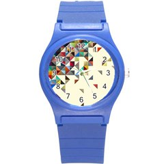 Retro Pattern Of Geometric Shapes Round Plastic Sport Watch (s)