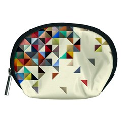 Retro Pattern Of Geometric Shapes Accessory Pouches (medium)