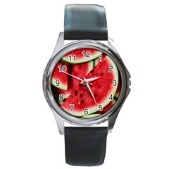 Fresh Watermelon Slices Texture Round Metal Watch by BangZart
