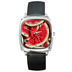 Fresh Watermelon Slices Texture Square Metal Watch by BangZart