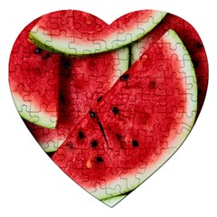 Fresh Watermelon Slices Texture Jigsaw Puzzle (heart) by BangZart