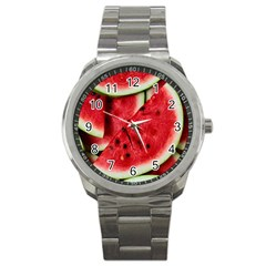 Fresh Watermelon Slices Texture Sport Metal Watch by BangZart