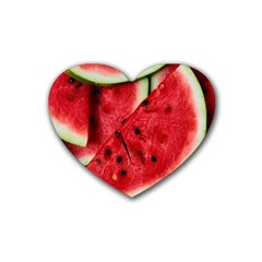 Fresh Watermelon Slices Texture Heart Coaster (4 Pack)  by BangZart