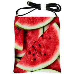 Fresh Watermelon Slices Texture Shoulder Sling Bags by BangZart
