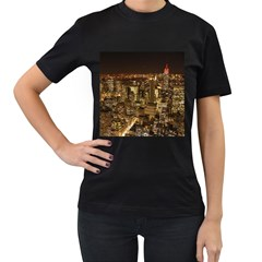 New York City At Night Future City Night Women s T Shirt (black) (two Sided)