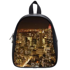 New York City At Night Future City Night School Bags (small)
