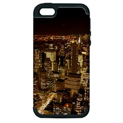 New York City At Night Future City Night Apple Iphone 5 Hardshell Case (pc+silicone) by BangZart
