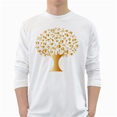 Abstract Book Floral Food Icons White Long Sleeve T Shirts