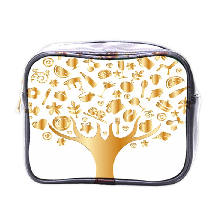 Abstract Book Floral Food Icons Mini Toiletries Bags
