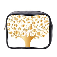 Abstract Book Floral Food Icons Mini Toiletries Bag 2 Side by Nexatart