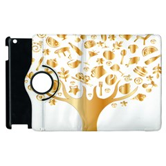 Abstract Book Floral Food Icons Apple Ipad 2 Flip 360 Case by Nexatart