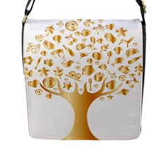 Abstract Book Floral Food Icons Flap Messenger Bag (l)