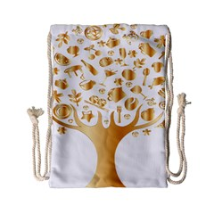 Abstract Book Floral Food Icons Drawstring Bag (small) by Nexatart
