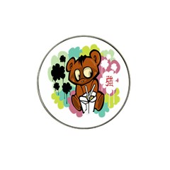 Bear Cute Baby Cartoon Chinese Hat Clip Ball Marker by Nexatart