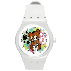 Bear Cute Baby Cartoon Chinese Round Plastic Sport Watch (m)